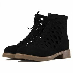 Nib Jeffrey Campbell Adderly Black Suede Cut-out Lace Boots- Size 7.5 -msrp 220