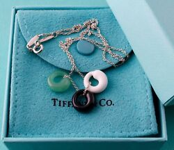 And Co White Black Jade Aventurine Eternal Circle Silver Necklace