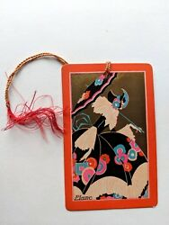 Vintage Bridge Game Tally -- Playing Card Style W/ Deco Woman In Big Dress