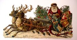 Large 1800's Christmas Die Cut W/ Santa In His Sled W/ British Toy Soldier