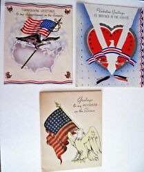 3 Vintage Military Greeting Cards - For Brother - For Husband And Thanksgiving