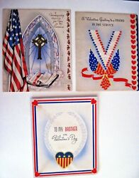 3 Vintage Military Greeting Cards - For Brother - For Friend And Thanksgiving