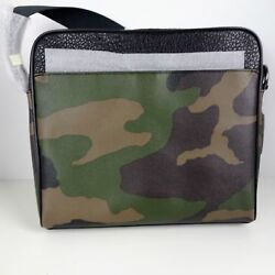 Coach Mens Messenger Bag Leather Crossbody Camouflage Pattern Green Black New
