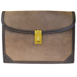 Authentic GUCCI Logos Men's Clutch Hand Bag Leather Dial Brown Italy 66EF256