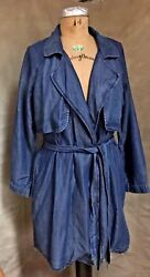 Tencel Chambray Denim Trench Coat Duster Jacket Anthropologie Cloth+stone Xs New