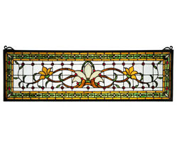 Collectible Fairytale Transom Stained And Leaded Glass Window Victorian Flair