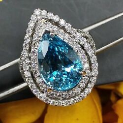 Natural 10.46tcw Blue Zircon Vs Diamond 18k Solid White Gold Ring Pear Cocktail