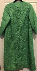 Vintage Greenquilted Satin Robe Long Green Button Front 1960s Large Chest 44