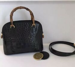 RARE Gucci glossy alligator bag with bamboo handles $13500 Layaway Available
