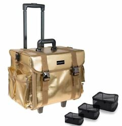 Gold Cosmetic Bag On Wheels Teens Women Travel Trade Shows Artist Glam Rolling
