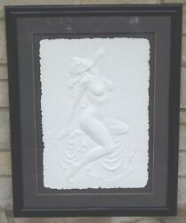 Female Model Large Nude Hand Cast Paper Relief Sculpture By Artist Roberta Peck