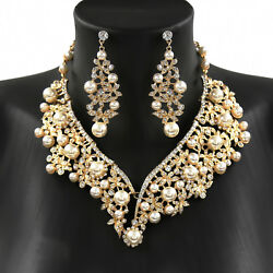 Crystal Rhinestone Beading Necklace Earrings Wedding Jewelry Sets-fast Shipping