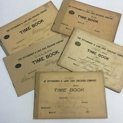 Five Antique Pittsburgh And Lake Erie Railroad Company Time Books, Train, Vintage