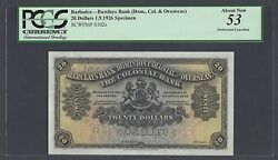 Barbados -barclays Bank 20 Dollars 1-9-1926 Ps102s Specimen About Uncirculated