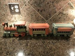 Vintage Red And Green Wooden Train Set - Engine, Car, And Caboose