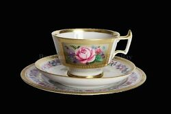 Russian Imperial Lomonosov Porcelain 3 Set Cup Saucer Plate Recollection Gold