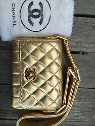 CHANEL Gold Quilted Leather Mini Flap Purse Evening Bag Excellent Condition!!!