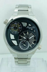 Kenneth Cole Ny Kc3991 Dual Time Display Skeleton Stainless Steel Band Watch