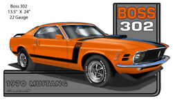 Mustang 1970 Series Orange Cut Out Metal Sign By Rudy Edwards 13.5x24