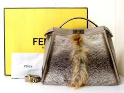 FENDI PEEKABOO Harako Shoulder Tote Hand Fur Leather Bag Rare Design Mint UnUsed