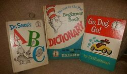 Dr. Seuss PD Eastman 1st Edition Book Collection GO DOG GO - A B C - Dictionary
