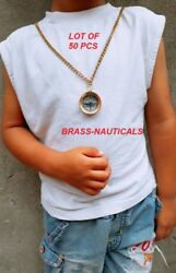 Brass Compass Lot Of 50 Pieces With Brass Chains Solid Locket Compass