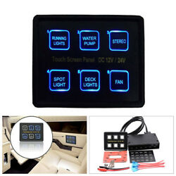 6 Gang 12V24V LED Touch Screen Panel Slim Switch Controls Truck Marine Car Boat
