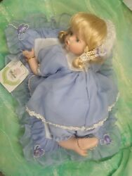 Cutie Baby Doll Luisa Collectible Porcelain - Blonde - In Blue Dress With Tag