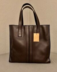 Todand039s Script Tote Bag In Brown Nappa Leather With Navy Trim Detail Limited Ed.