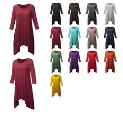 Fashionoutfit Women's Solid 3/4 Sleeves Crew Neck Loose Fit Swing Tunic Top