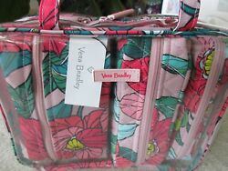 Vera Bradley Vintage Floral 4PC Cosmetic Organizer In Clear Tote Travel Bag NWT