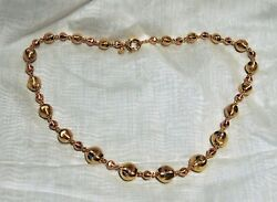 GOLD NECKLACE ROSE & YELLOW 18KT ITALY BALL BEADS DESIGN 33.50 GR-LENGTH=18.25