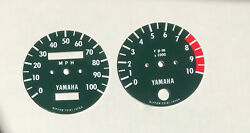 1972, 1973 Yamaha Enduro Dt2, Dt3 250 Tachometer And Speedometer Face Plates