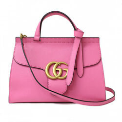 Gucci 421890 Marmont GG Shoulder Hand Tote Bag Pink Leather Used Excellent++
