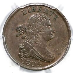 1804 C-5 R-4 Pcgs Au 53 Spiked Chin Draped Bust Half Cent Coin 1/2c