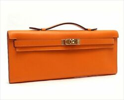 Hermes Kelly Cut Clutch Hand Tote Bag Leather Orange Never Used Mint