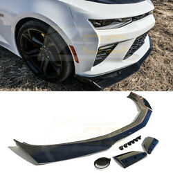For 16-18 Camaro Ss Zl1 Glossy Black Abs 1le Style Front Bumper Lip Splitter Kit