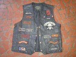Vintage Leather Motorcycle Biker Vest Harley Davidson Riders Many Patches Vet