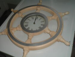 Vintage Antique Ship's Wheel 26 Enamel And Wood Wall Clock Works