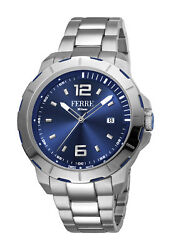 Ferre Milano Menand039s Fm1g107m0071 Blue Dial Stainless Steel Ip Date Wristwatch