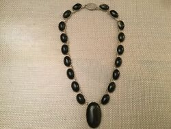 Vintage Hecho En Mexico D.f Sterling Silver Onyx Necklace
