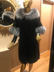 Ermanno Scervino Winter Coat With Silver Fox Fur And Leather High Gloves