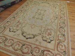Musical Lyres Horns 6x9 French Aubusson Style Area Rug Beige Green Yellow