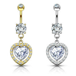 Belly button Ring 14kt Solid Gold Heart Dangle with Heart Shaped Solitaire CZ