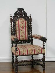 Large Antique French Carved Oak Hunt Style Arm Chair