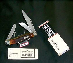 Schrade 8ot Knife Usa Old Timer Premium Stockman 4 Cl. Circa-1980and039s And Packaging