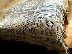 Antique 1930s Vintage Hand Knitt Knitted Crochet Lace Tableclotn-coverlets