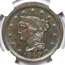 1849 N-11 Ngc Ms 62 Bn Braided Hair Large Cent Coin 1c