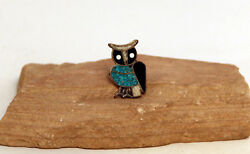 Navajo Silver And Chip Inlay Owl Ring 1 1/2 Ring Face - Size 5 1/2