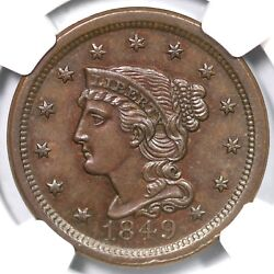 1849 N-28 R-3 Ngc Ms 63 Bn Braided Hair Large Cent Coin 1c